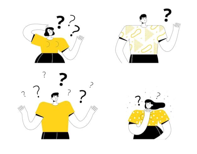 Insieme di persone pensanti, uomini e donne, pensano e fanno domande
