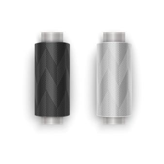 Set di fili di colori bianco e nero, set di rocchetti di filo. bobina di plastica colorata. illustrazione