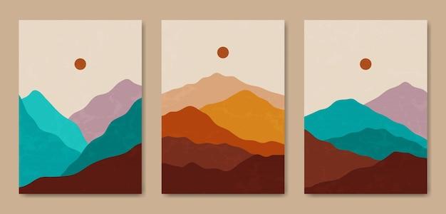 Set di tre modello di poster boho contemporaneo astratto estetico metà secolo moderno paesaggio