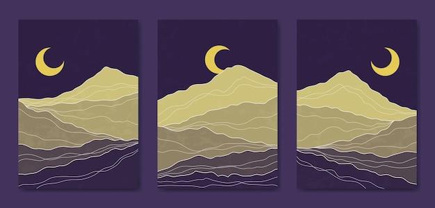 Set di tre linea di paesaggio moderno astratto estetico metà del secolo modello di copertina del poster boho contemporaneo.