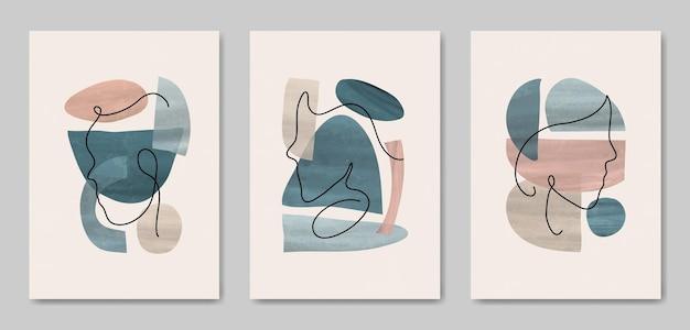 Set di tre astratto estetico metà del secolo linea moderna arte viso ritratto e foglie modello di copertina poster boho contemporaneo.
