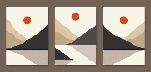 Set di tre modello di copertina del poster boho contemporaneo del paesaggio moderno della metà del secolo estetico