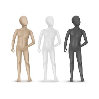 Set di tre manichini bambino isolato su sfondo bianco