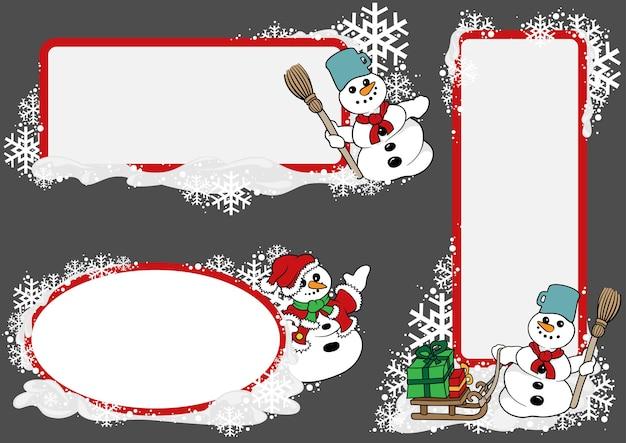 Set di tre cartellini natalizi con pupazzo di neve