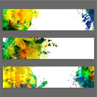 Set di tre striscioni colorati astratte
