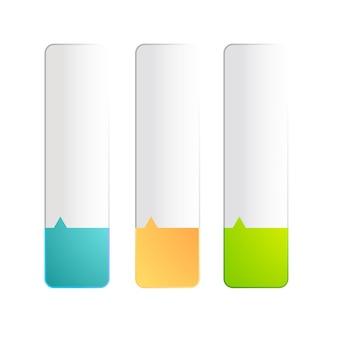 Set di tre striscioni colorati realistici della stessa dimensione divisi su due colori