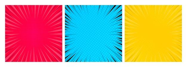 Set di tre sfondi di pagine di fumetti in stile pop art con spazio vuoto. modello con raggi, punti e texture effetto mezzitoni. illustrazione vettoriale