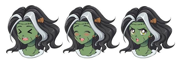Set di tre simpatici anime zombie ragazza ritratto. espressioni diverse. illustrazione disegnata a mano in stile anime retrò anni '90.