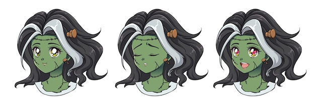 Set di tre simpatici anime zombie ragazza ritratto.