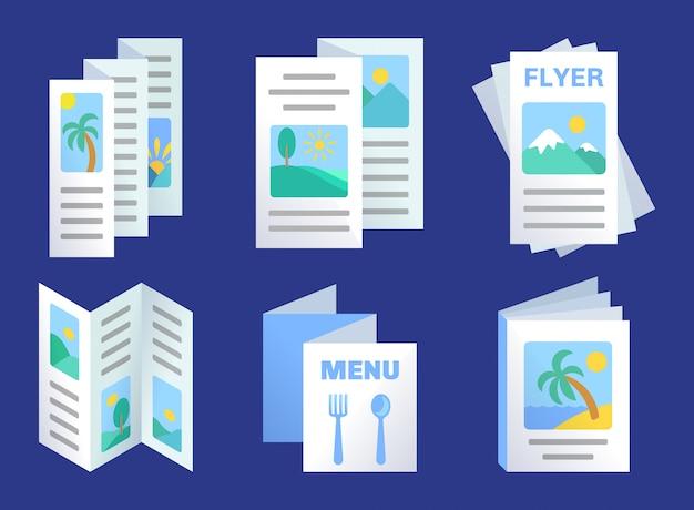 Set di modello di brochure a tre pieghe, volantini pubblicitari, menu di carta
