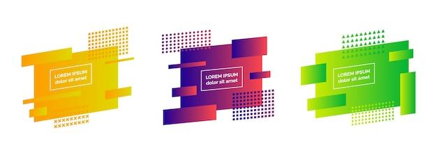 Set di tre distintivi astratti colorati geometrici. elemento grafico moderno. design minimal sfumato dinamico alla moda. illustrazione vettoriale