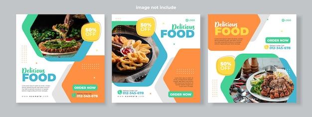 Set di tre sfondo esagonale geometrico di banner di promozione del menu di cibo delizioso modello di pacchetto di social media premium vector