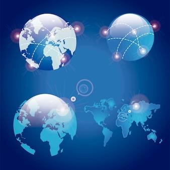 Set di tre globi che mostrano la terra con tutti i continenti