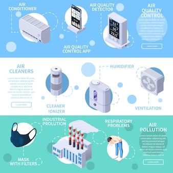 Un insieme di tre insegne isometriche orizzontali di controllo di qualità di purificazione dell'aria con le icone dell'illustrazione elettronica dei dispositivi di pulizia