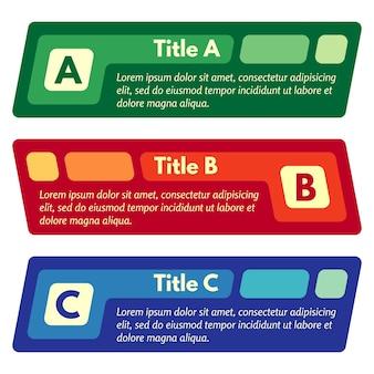 Set di tre striscioni di opzioni colorate orizzontali. modello di progettazione infografica passo dopo passo. illustrazione vettoriale