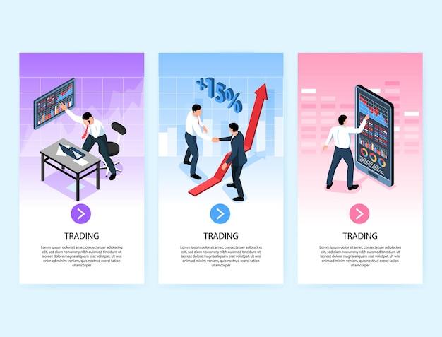Un insieme di tre bandiere verticali di scambio isometrico del mercato azionario con testo delle immagini e illustrazione del pulsante cliccabile