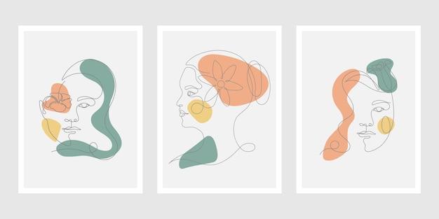 Set di tre volti di donne minimal art line
