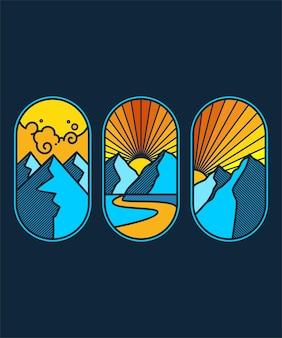 Set di tre illustrazioni di montagne su sfondo blu scuro blue Vettore Premium