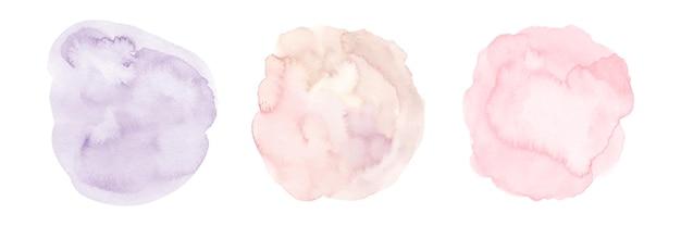 Set di tre forme di pennello macchia cerchio acquerello viola sfumato rosa dipinto a mano