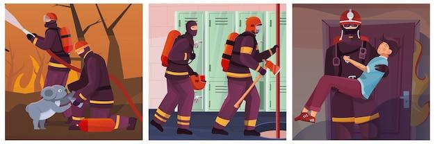 Set di tre illustrazioni quadrate con vedute di persone che combattono contro il fuoco che salvano le persone
