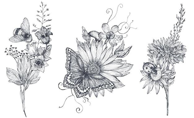 Set di tre mazzi floreali vettoriali con erbe, fiori selvatici e insetti disegnati a mano in bianco e nero, farfalla, ape, in stile schizzo.