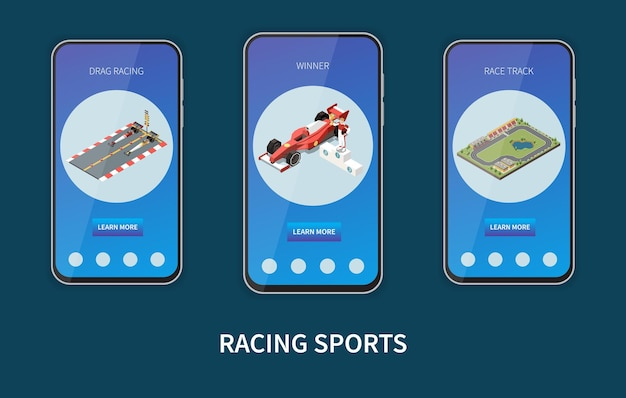 Set di tre banner verticali in cornici per smartphone per sport da corsa