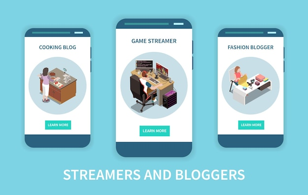 Set di tre banner isometrici verticali con cucina di moda e video in streaming di blogger di giochi isolato