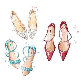 Set di tre paia di scarpe dipinte a mano ad acquerello illustrazione di moda