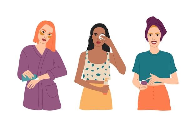 Set di tre giovani ragazze si prendono cura della loro pelle, applicano cosmetici per il viso, spalma le mani con crema, ragazza felice con un asciugamano in testa, routine quotidiana.
