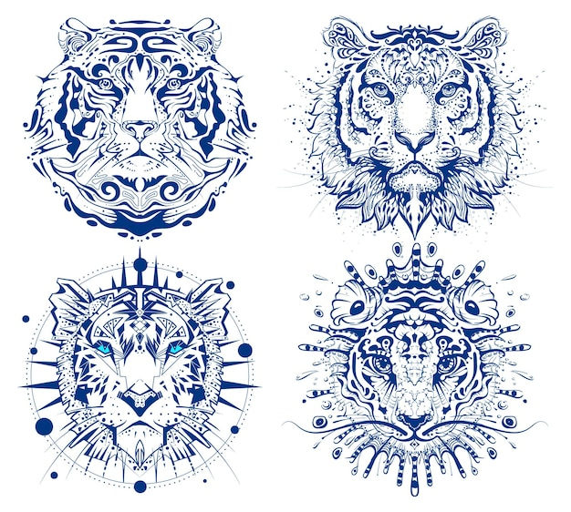 Impostare la stampa della testa del viso astratto della tigre 2022 anno simbolo calendario cinese