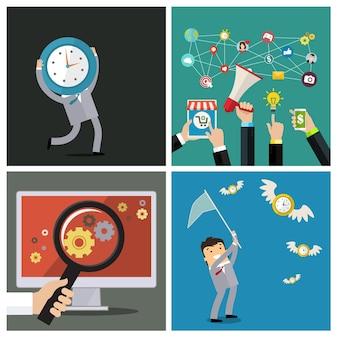 Set di gestione del tempo e concetti di social media. piatto