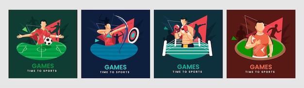 Set di tempo per lo sport poster design con vari atletica leggera in posa di azione.