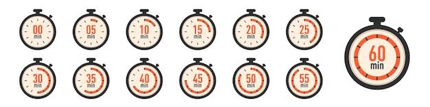 Set di icone dell'orologio timer. collezione timer cronometro