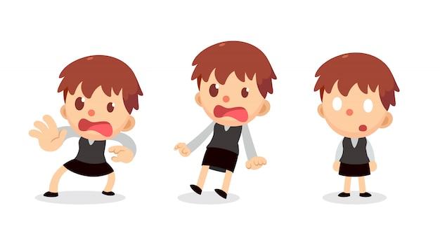Set di carattere piccola imprenditrice in azioni. spaventato e scioccato.