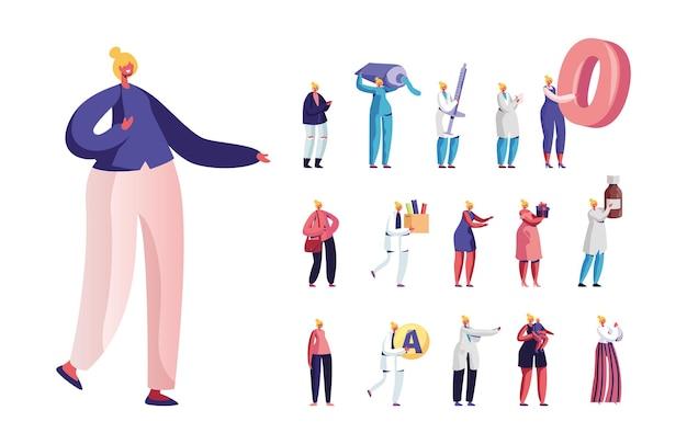 Set di piccoli personaggi femminili con enorme dentifricio, siringa e simbolo zero, stile di vita della donna, madre con bambino