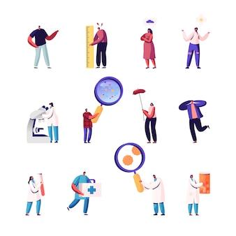 Set di piccoli personaggi maschili e femminili con strumenti di lavoro