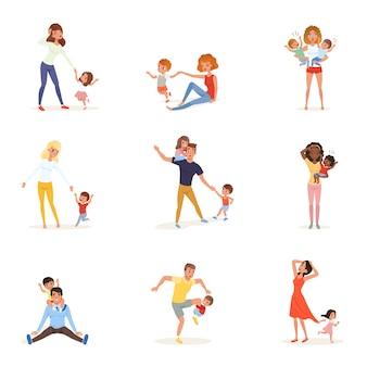 Set di genitori stanchi con bambini. mamme e papà esausti, ragazzi e ragazze giocosi. giornata folle. i bambini vogliono giocare. la realtà della genitorialità. concetto di famiglia.