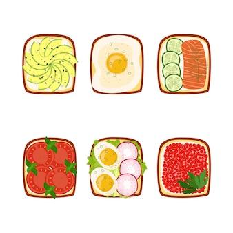Set di toast per colazione con ingredienti diversi, illustrazione vettoriale