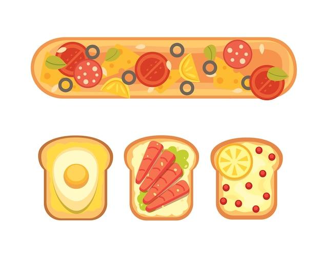 Set toast e colazione a sandwich. pane tostato con marmellata, uova, formaggio, mirtilli, burro di arachidi, salame e pesce. illustrazione.