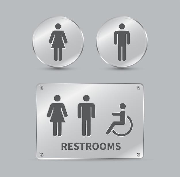 Impostare i segni della toilette segnaletica per il bagno maschile femminile