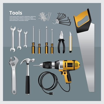 Insieme dell'illustrazione di vettore della raccolta degli strumenti