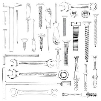 Set di strumenti, hardware. dispositivo di fissaggio diverso isolato su bianco. disegnato a mano di uno stile di schizzo.
