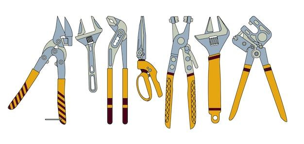 Un set di strumenti per l'installatore in stile piatto. per un negozio di ferramenta. illustrazione vettoriale.
