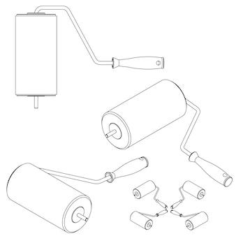 Imposta strumenti isometrici su sfondo bianco