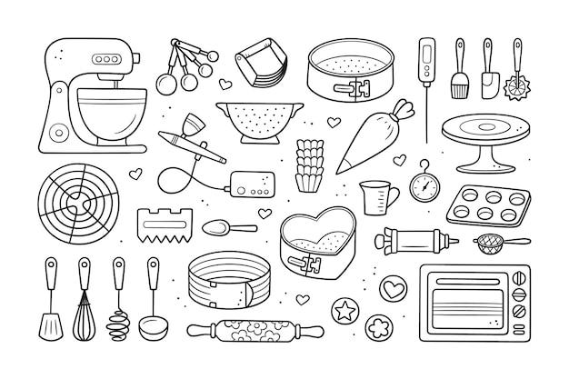 Un set di strumenti per fare torte, biscotti e pasticcini