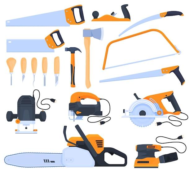 Set di strumenti. lavorare con una vergine. utensili elettrici, utensili manuali, seghe, asce, fresatrice, rettificatrice.