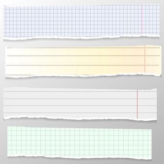 Set di note bianche e gialle strappate, strisce di quaderni, pezzi di carta a righe e quadretti bloccati su carta di sfondo grigio.