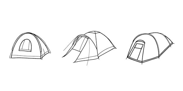 Set di tende turistiche. attrezzatura da campo. tenda per escursionismo, viaggi, svago e alpinismo. illustrazione in stile doodle.