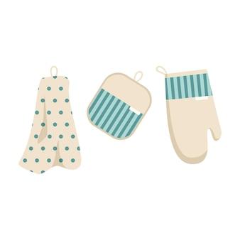 Un set di asciugamani e guanti da forno per stoviglie, articolo da cucina