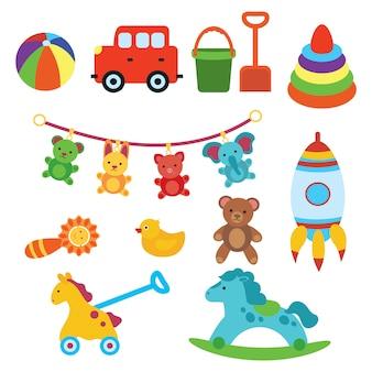 Set di giocattoli per bambini. illustrazione per bambini. macchina giocattolo. razzo.